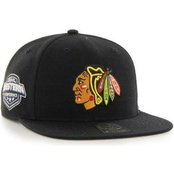 47-brand-flat-brim-chicago-blackhawks-nhl-captain-snapback-cap-schwarz-