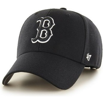 47 Brand Curved Brim Schwarzweiss Logo Logo Boston Red Sox MLB MVP Snapback Cap schwarz