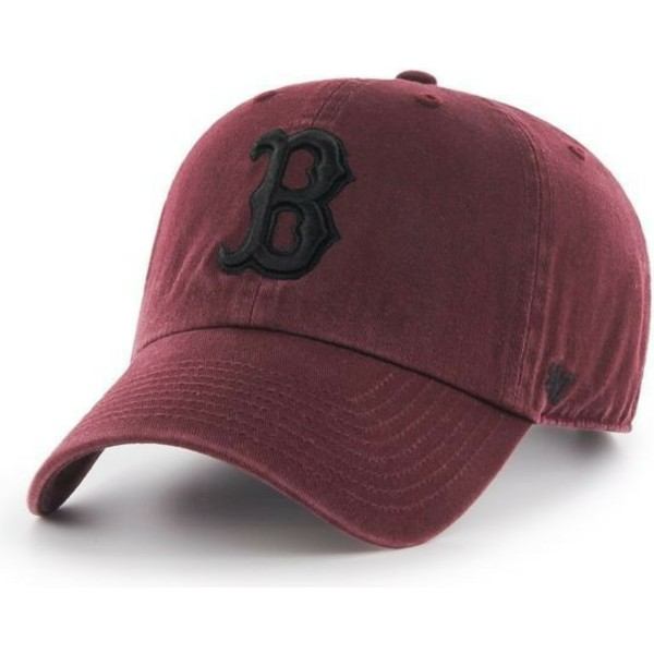 47-brand-curved-brim-schwarzes-logo-boston-red-sox-mlb-clean-up-cap-braun