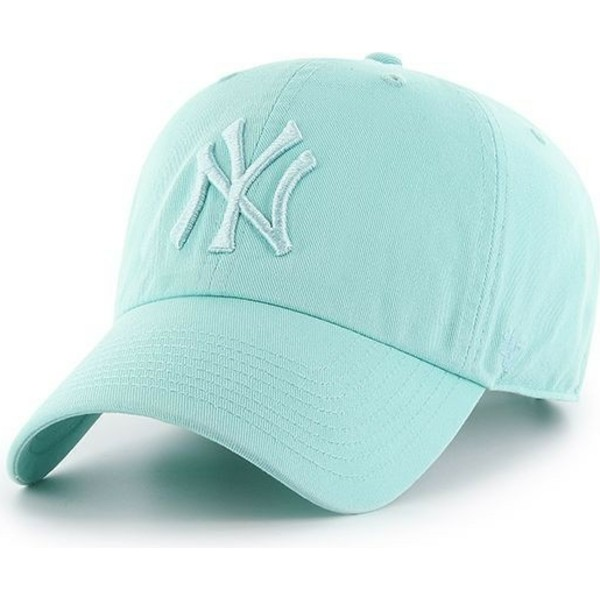 47-brand-curved-brim-mit-hellgrunem-logo-new-york-yankees-mlb-clean-up-cap-hellgrun