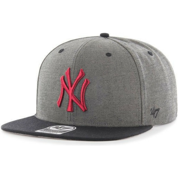 47-brand-flat-brim-new-york-yankees-rotes-logo-mlb-double-move-captain-snapback-cap-grau