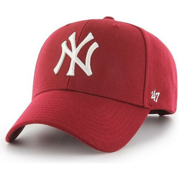 47-brand-curved-brim-new-york-yankees-mlb-mvp-dark-snapback-cap-rot
