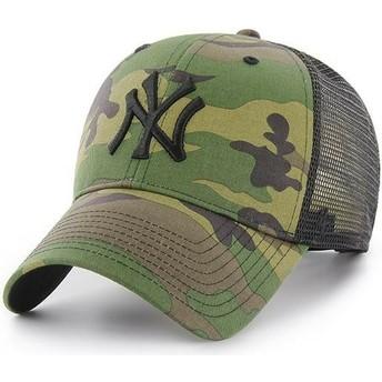 47 Brand Schwarzes Logo New York Yankees MLB Branson MVP Trucker Cap camo