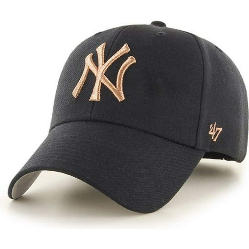 47-brand-curved-brim-bronze-logo-new-york-yankees-mlb-mvp-metallic-cap-schwarz