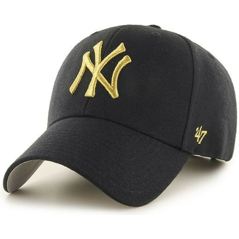 47-brand-curved-brim-gold-log-new-york-yankees-mlb-mvp-metallic-cap-schwarz