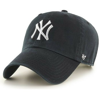 47 Brand Curved Brim Silber Logo New York Yankees MLB Clean Up Metallic Cap schwarz
