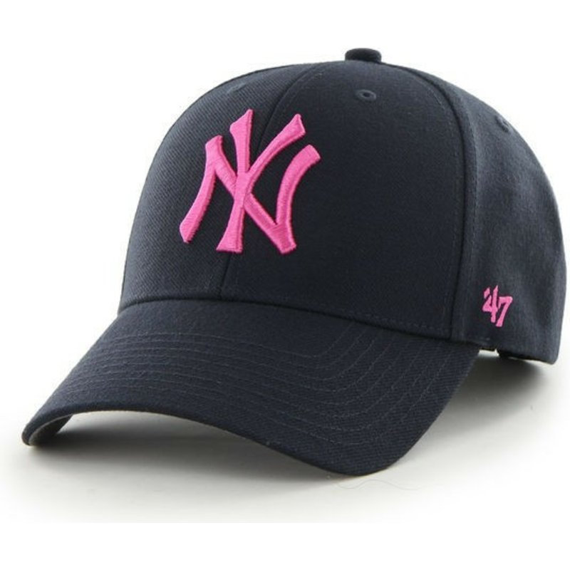 47-brand-curved-brim-pinkes-logo-new-york-yankees-mlb-mvp-cap-marineblau