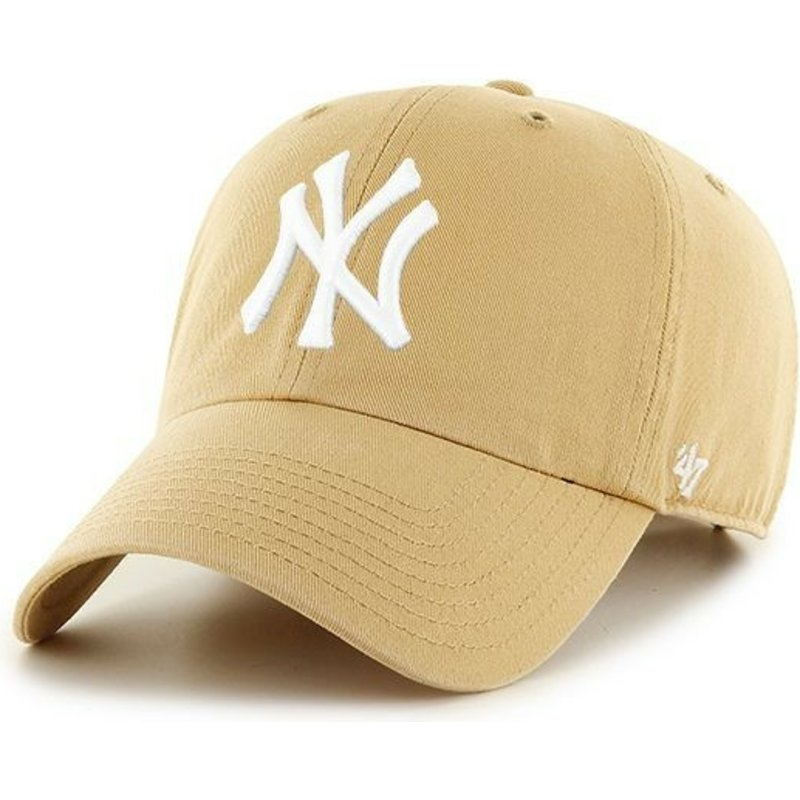 47-brand-curved-brim-new-york-yankees-mlb-clean-up-light-cap-braun