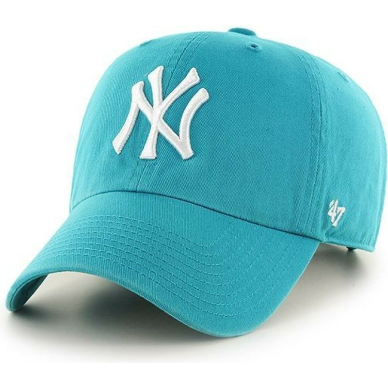 47-brand-curved-brim-new-york-yankees-mlb-clean-up-blau-snapback-cap-grun