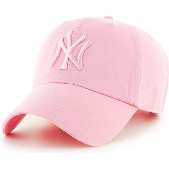 47 Brand Curved Brim Pinkes Logo New York Yankees MLB Clean Up Cap pink