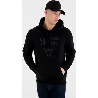 New Era Mit Schwarzem Logo Chicago Bulls NBA Pullover Hoodie Kapuzenpullover Sweatshirt schwarz