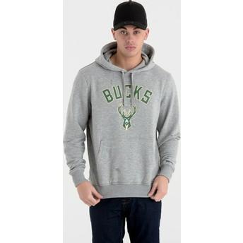 New Era Milwaukee Bucks NBA Pullover Hoodie Kapuzenpullover Sweatshirt grau