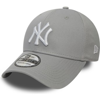 New Era Curved Brim 39THIRTY Classic New York Yankees MLB Fitted Cap grau