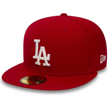New Era Flat Brim 59FIFTY Essential Los Angeles Dodgers MLB Fitted Cap rot
