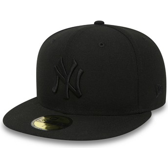 New Era Flat Brim 59FIFTY schwarz on schwarz New York Yankees MLB Fitted Cap schwarz