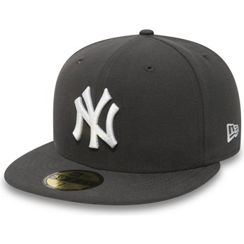New Era Flat Brim 59FIFTY Essential New York Yankees MLB Stone Fitted Cap grau