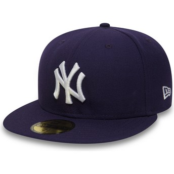 New Era Flat Brim 59FIFTY Essential New York Yankees MLB Fitted Cap violett