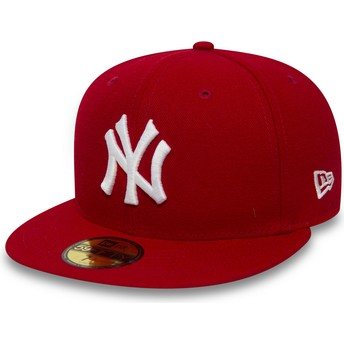 New Era Flat Brim 59FIFTY Essential New York Yankees MLB Fitted Cap rot