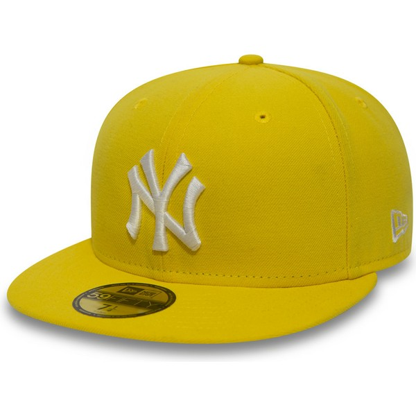 new-era-dunkelgelb-flat-brim-59fifty-essential-new-york-yankees-mlb-fitted-cap-gelb