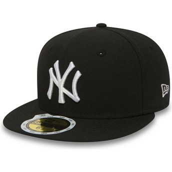 New Era Kinder Flat Brim 59FIFTY Essential New York Yankees MLB Fitted Cap schwarz