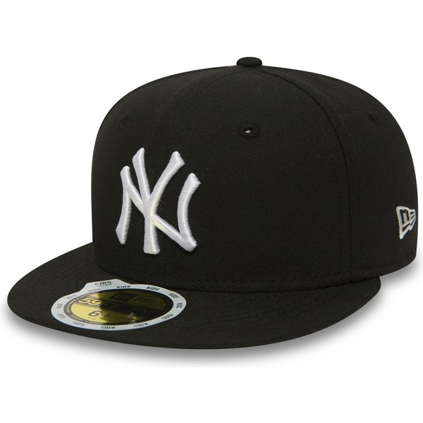 new-era-kinder-flat-brim-59fifty-essential-new-york-yankees-mlb-fitted-cap-schwarz