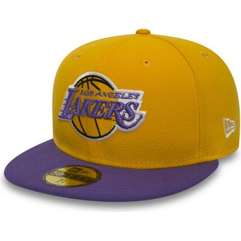 New Era Flat Brim 59FIFTY Essential Los Angeles Lakers NBA Fitted Cap gelb