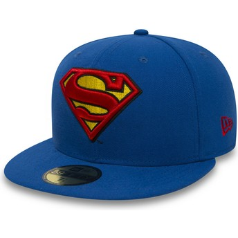 New Era Flat Brim 59FIFTY Superman Character Essential Warner Bros. Fitted Cap blau
