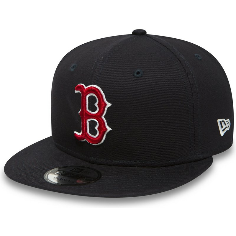 new-era-flat-brim-9fifty-essential-boston-red-sox-mlb-snapback-cap-marineblau