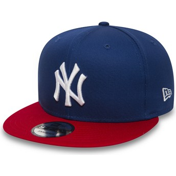 New Era Flat Brim 9FIFTY Cotton Block New York Yankees MLB Snapback Cap blau