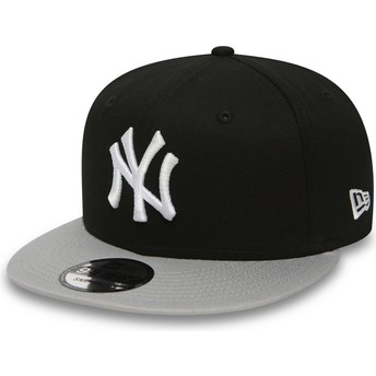 New Era Flat Brim 9FIFTY Cotton Block New York Yankees MLB Snapback Cap schwarz