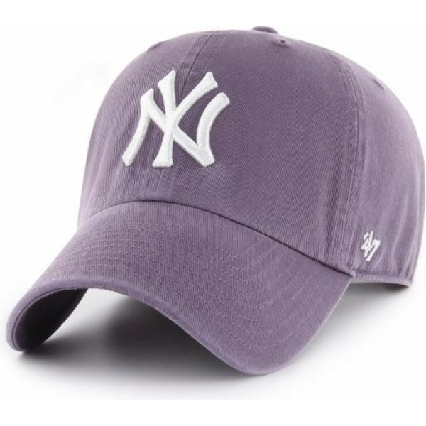 47-brand-curved-brim-new-york-yankees-mlb-clean-up-cap-violett