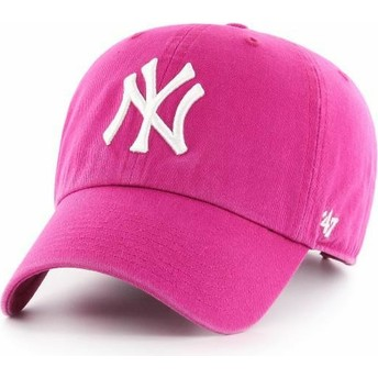 47 Brand Curved Brim New York Yankees MLB Clean Up Orchid Cap pink