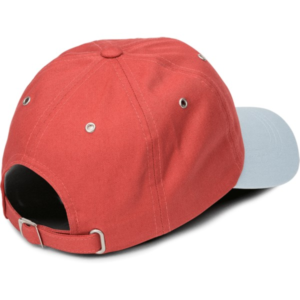 volcom-curved-brim-copper-splat-adjustable-cap-verstellbar-rot-mit-grauem-schirm