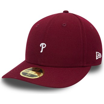 New Era Curved Brim 59FIFTY Low Profile Mini Logo Philadelphia Phillies MLB Fitted Cap violett