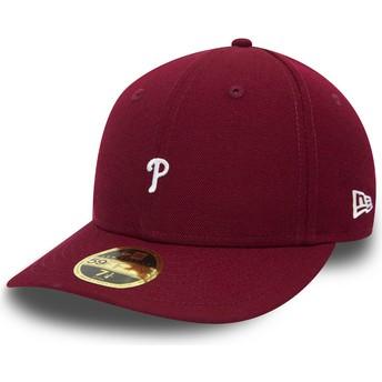 New Era Curved Brim 59FIFTY Low Profile Mini Logo Philadelphia Phillies MLB Fitted Cap violett