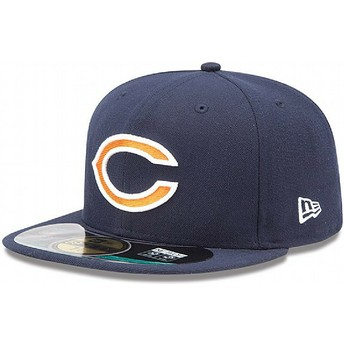 New Era Flat Brim 59FIFTY On Field Chicago Bears NFL Fitted Cap marineblau