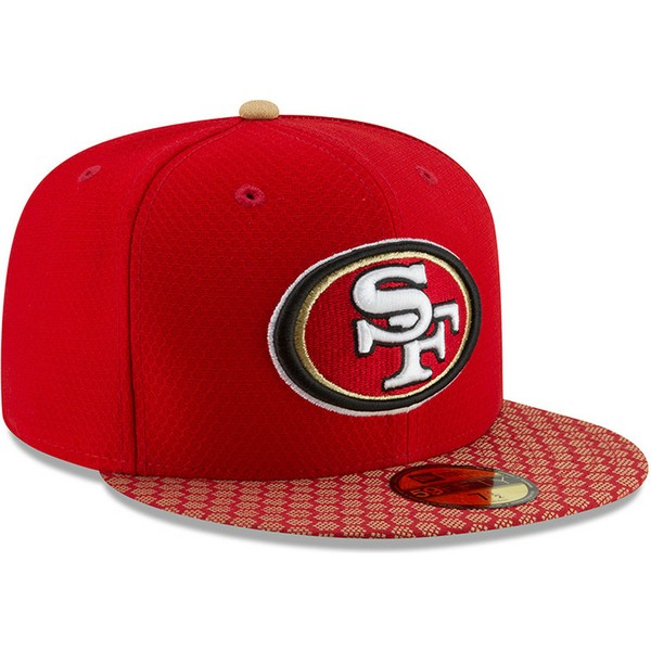 new-era-flat-brim-59fifty-sideline-san-francisco-49ers-nfl-fitted-cap-rot