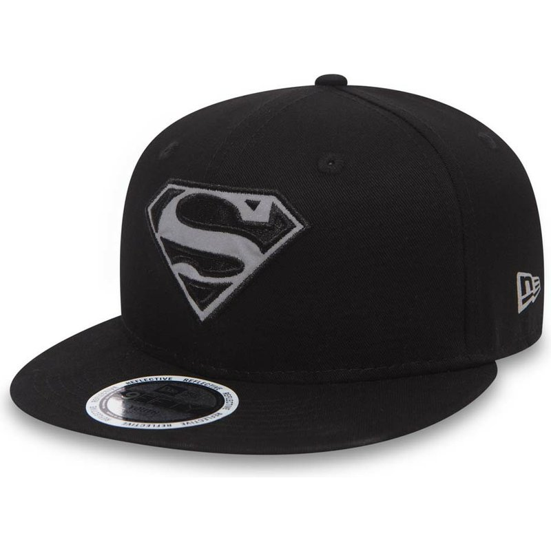 new-era-flat-brim-kinder-9fifty-reflect-superman-warner-bros-snapback-cap-schwarz