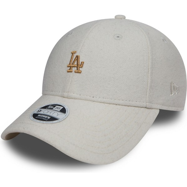 new-era-curved-brim-bronze-logo-9forty-melton-los-angeles-dodgers-mlb-adjustable-cap-verstellbar-weib