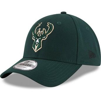 New Era Curved Brim 9FORTY The League Milwaukee Bucks NBA Adjustable Cap grün