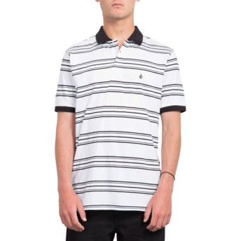 Volcom White Wowzer Stripe Poloshirt weiß