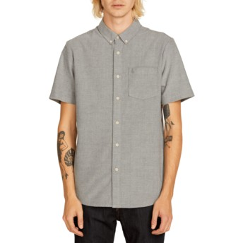 Volcom Black Everett Oxford Kurzärmliges Shirt grau