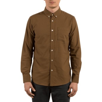 Volcom Mud Oxford Stretch Longsleeve Shirt braun