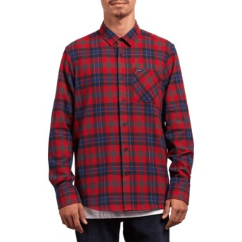 Volcom Engine Red Caden Plaid Longsleeve Shirt rot kariert