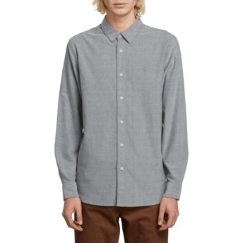 Volcom Black Oxford Stretch Longsleeve Shirt grau
