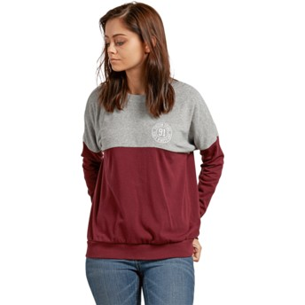 Volcom Burgundy Blocking Sweatshirt grau und rot