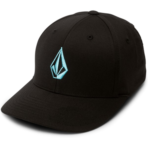 volcom-curved-brim-kinder-blau-bird-full-stone-xfit-fitted-cap-schwarz