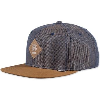 Djinns 6 Panel 2tone Oxford Snapback Cap blau und braun