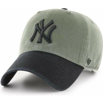 47 Brand Curved Brim Schwarzes Logo New York Yankees MLB Clean Up Two Tone Cap grün mit schwarzem Schirm