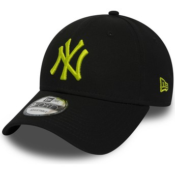 New Era Curved Brim Grünes Logo 9FORTY Essential de New York Yankees MLB Adjustable Cap schwarz